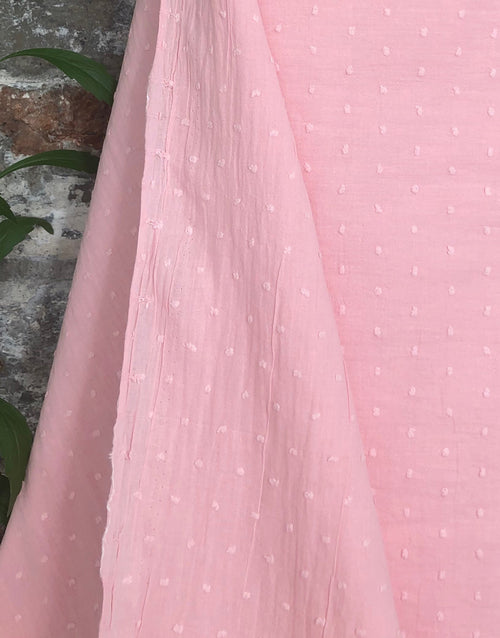 Pale Pink Dobby Cotton, Swiss Knot Fabric