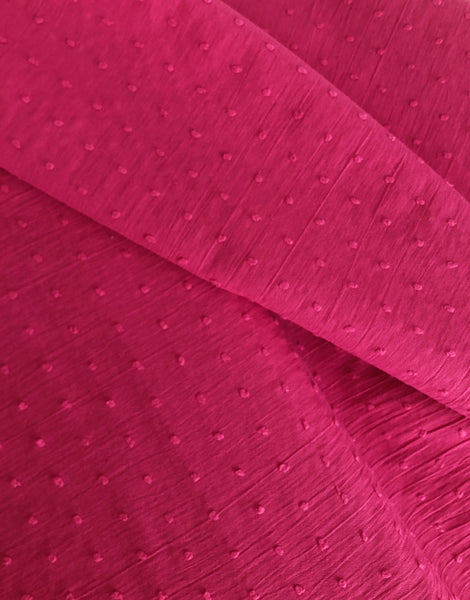 Fuschia Pink Dobby Cotton, Swiss Knot Fabric