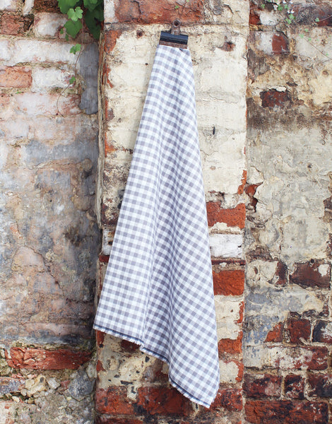 Gingham Cotton Fabric, Grey