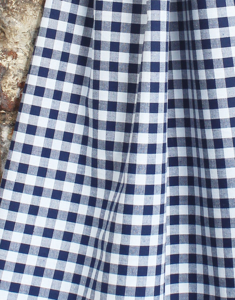 Gingham Cotton Fabric, Navy