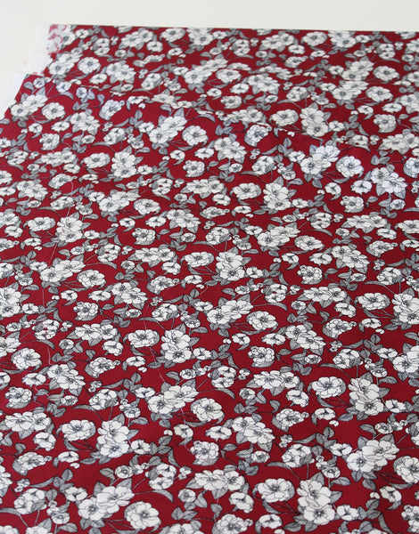 Burgundy Red Floral, Printed Cotton Fabric