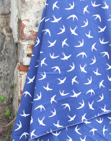 Swallows on Blue, Printed Cotton Fabric