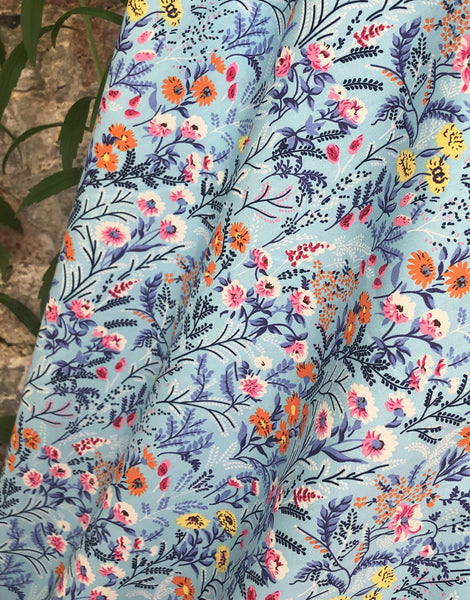 Pretty Floral on Pale Blue Printed Cotton Fabric
