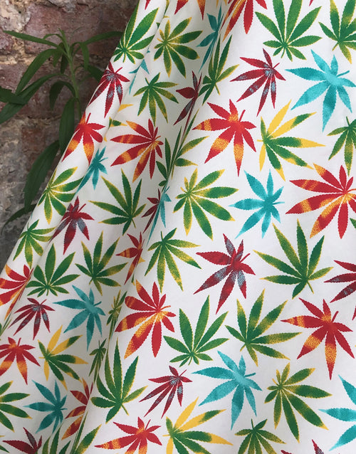 Colourful Tropical Leaves Printed Cotton Fabric