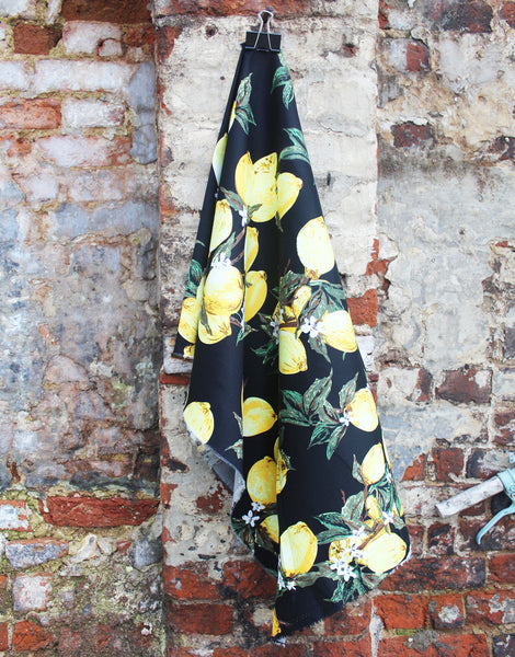 Printed Cotton Stretch, Lemons on Black