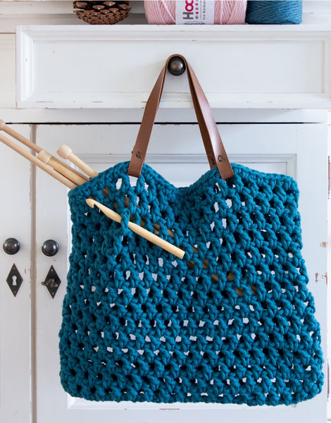 Petrol Blue Tiago Crochet Bag Kit, Hoooked