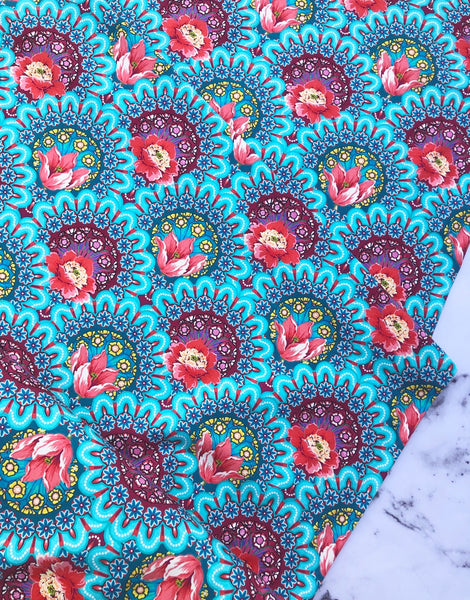 Gala Blue Cotton Jersey Fabric, Odile Bailloeul