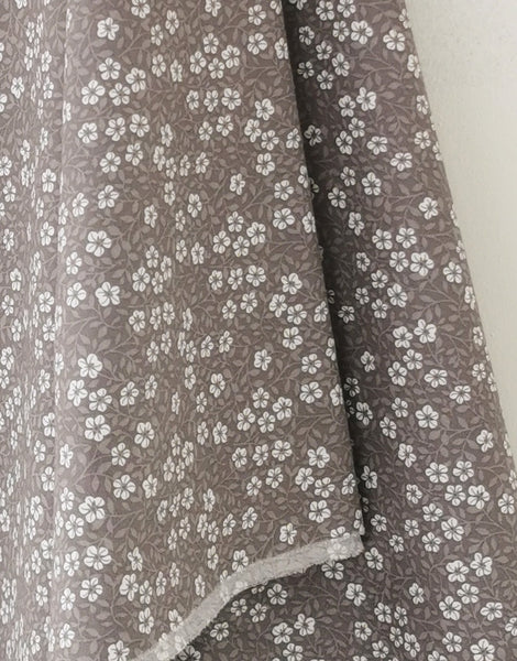 Small Grey Floral Leaf Printed Cotton Poplin Fabric