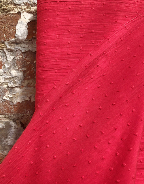 Red Dobby Cotton, Swiss Knot Fabric