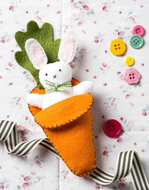 Bunny Rabbit in Carrot Bed Embroidered Felt Craft Kit by Corinne Lapierre