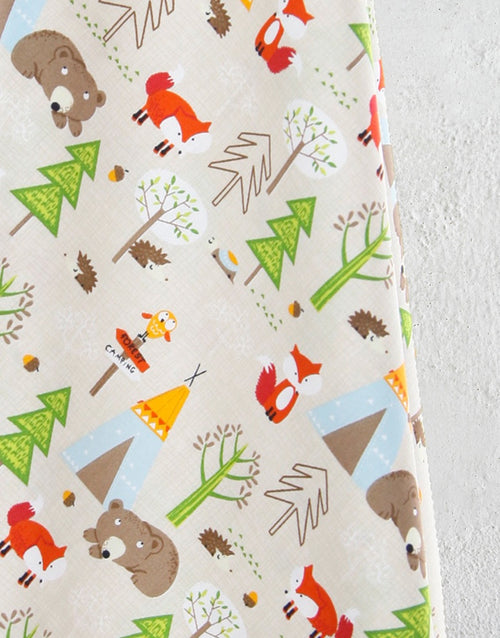 Woodland Animals Beige Printed Cotton Poplin Fabric