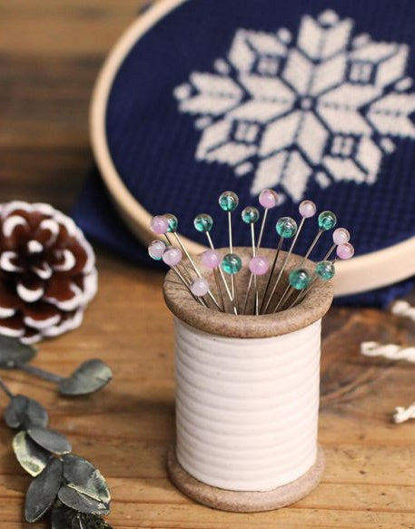 Snow Flower Magnetic Ceramic Spool with Glass Headed Pins from Cohana