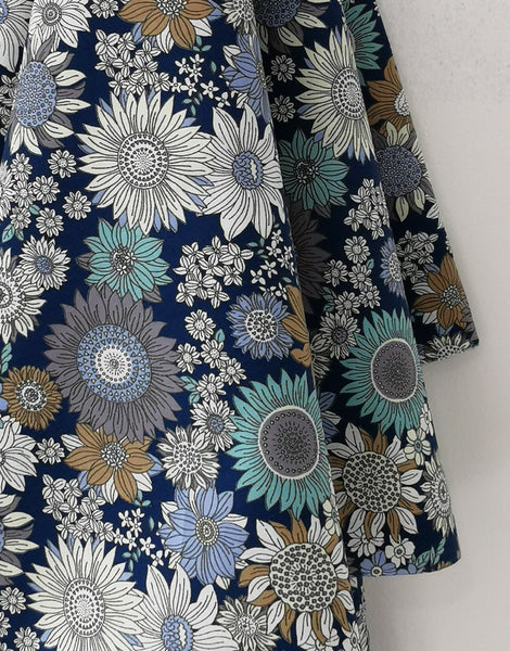 Blue Medium Flower Printed Cotton Poplin Fabric