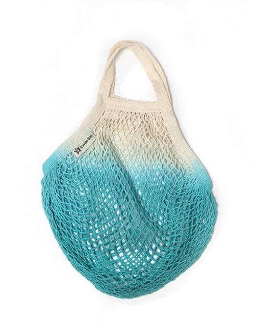 Organic Short Handled Eco String Bag, Dip Dyed Turquoise