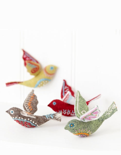 Three Folk Birds Embroidery Kit by Nancy Nicholson