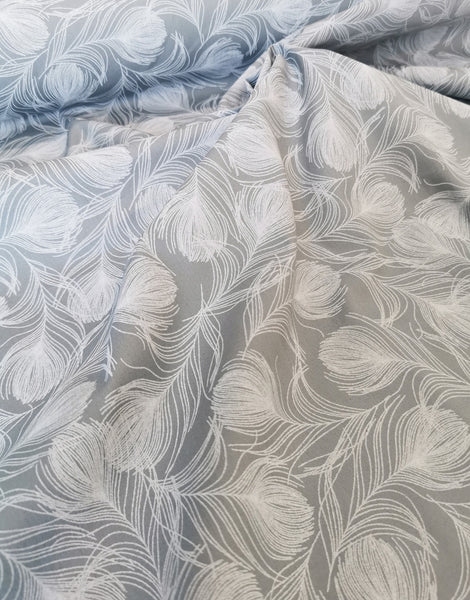 Grey Feathers, Printed Cotton Fabric
