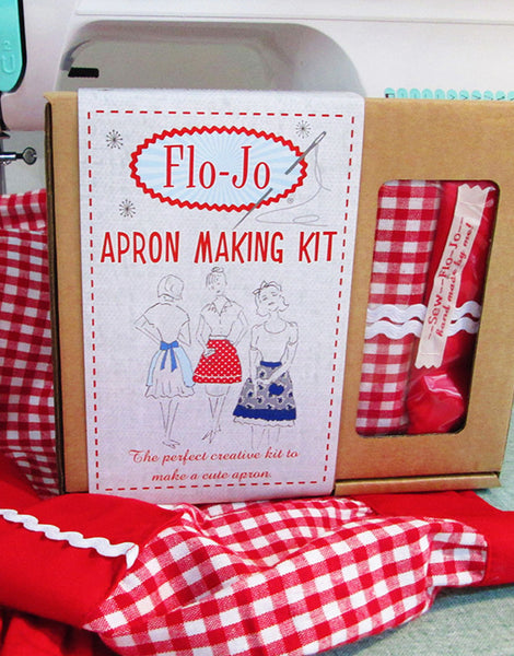 Red Gingham Apron Making Kit, Flo-Jo Boutique