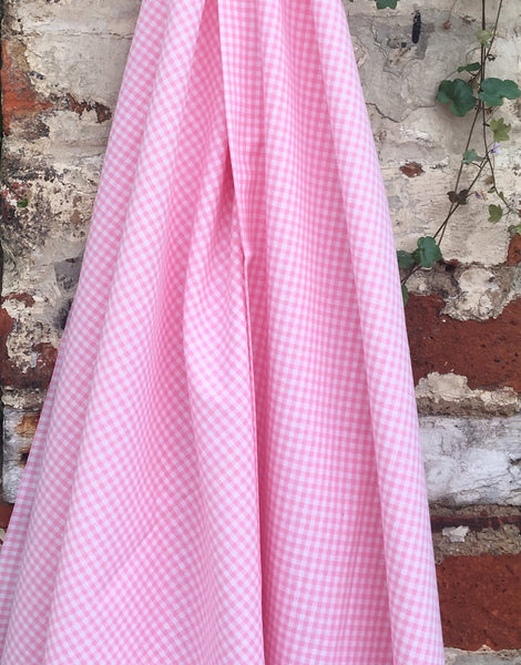 Pink Small Gingham Cotton Fabric
