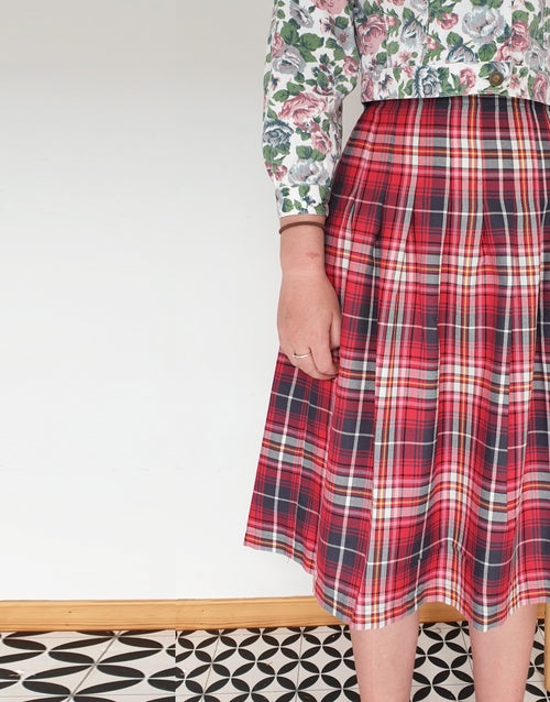 Red Tartan Long Pleated Pintuck Skirt, Girl's Dressmaking Kit, Ages 10-16+