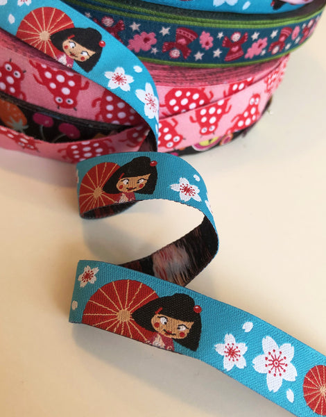 Blue Japanese Girl and Blossom 15mm Woven Ribbon by Helga and Friends