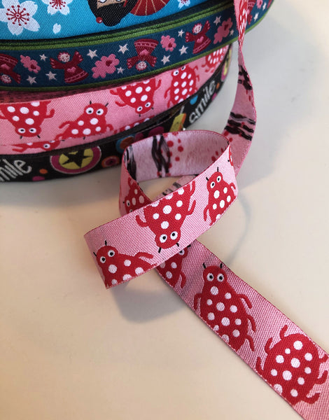Pink Ladybirds 15mm Woven Ribbon by Helga and Friends
