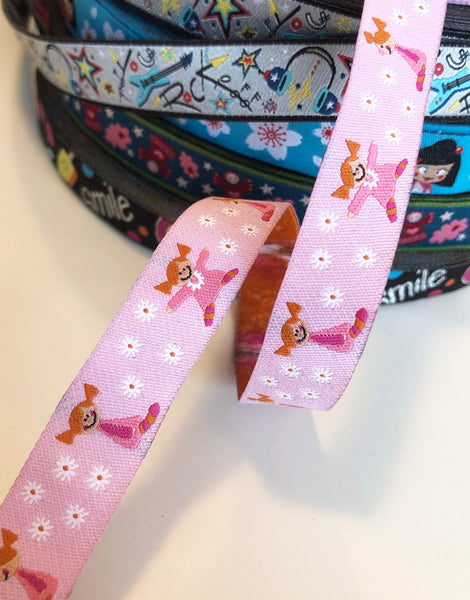 Pink Girl & Daisies 15mm Woven Ribbon by Helga and Friends