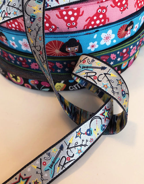 Rock Music 15mm Woven Ribbon by Helga and Friends