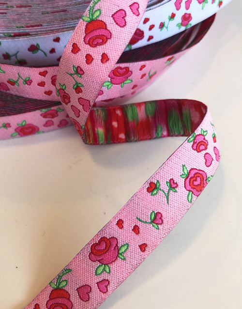 Roses on Pink 12mm Woven Ribbon by Helga and Friends