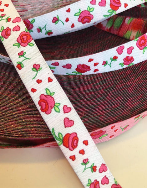 Roses on White 12mm Woven Ribbon by Helga and Friends