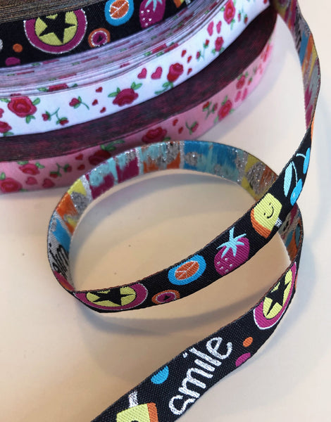 Smile 12mm Woven Ribbon by Helga and Friends