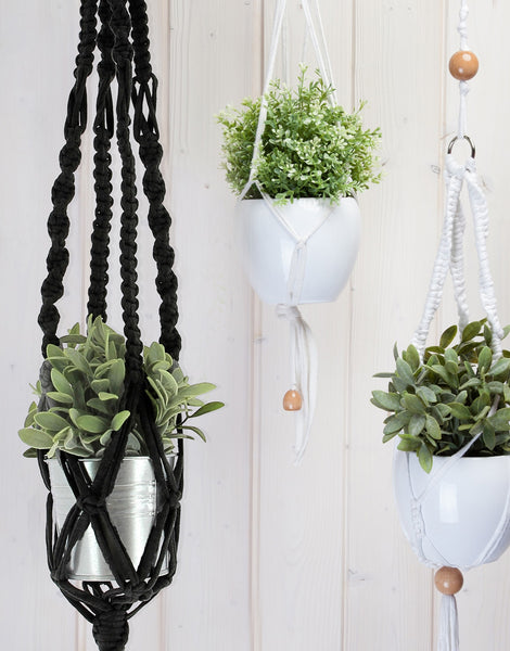 Hanging Basket Macramé Kit, Zpagetti Black Night