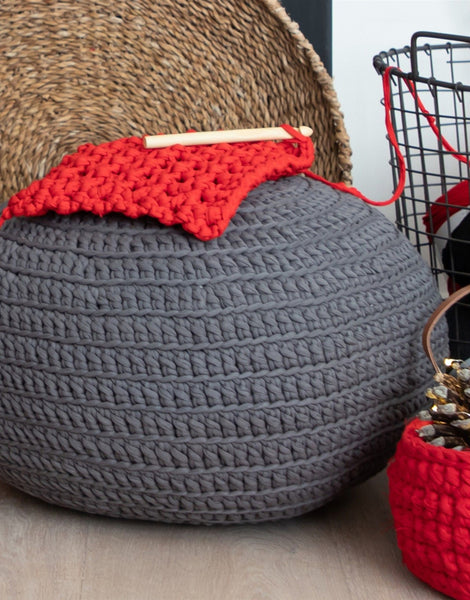 Anthracite Grey Crochet or Knit Kit, Zpagetti Pouf