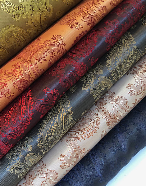 Paisley Jacquard Dress Lining Fabric, Various Colours