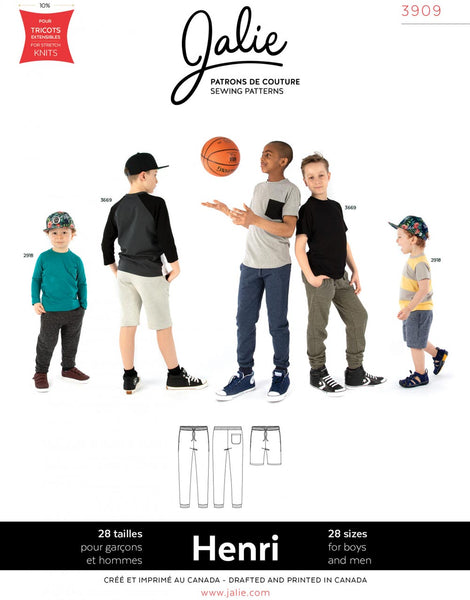Unisex Henri Joggers & Shorts for Kids & Adults, Jalie Sewing Pattern