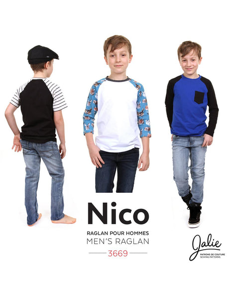 Nico Raglan T-Shirt for Boys & Men, Jalie Sewing Pattern