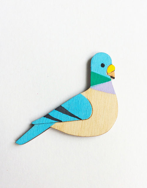 Pigeon Pin Brooch Hand Painted Wooden Birds by Kirstin Stride