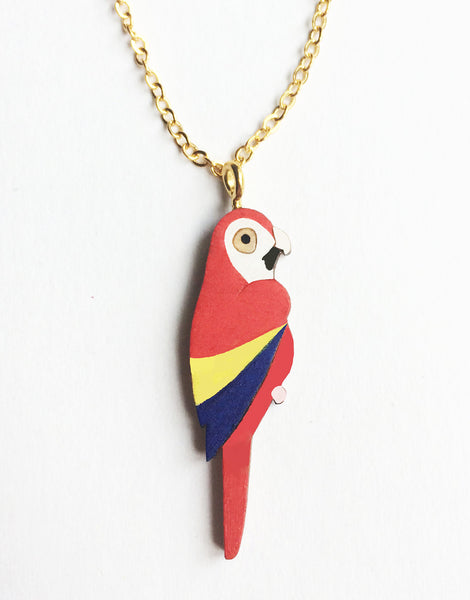 Scarlet Macaw Hand Painted Wooden Bird Necklace by Kirstin Stride