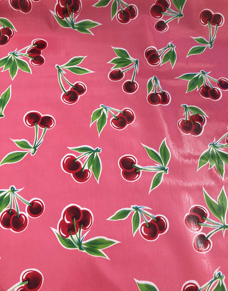 Cherries on Pink, Kitsch Kitchen Mexican Oilcloth Fabric