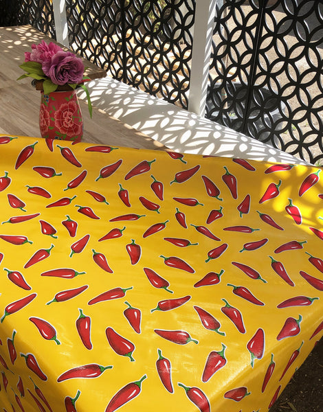 Chillies on Yellow, Kitsch Kitchen Mexican Oilcloth Fabric
