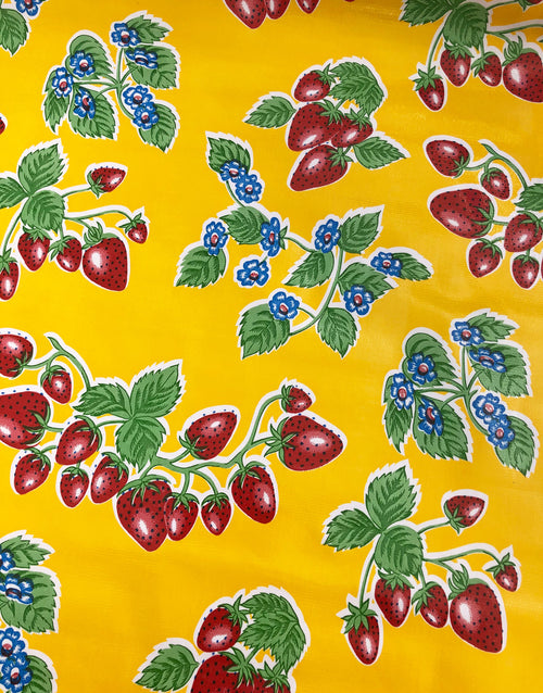 Strawberries on Yellow, Kitsch Kitchen Mexican Oilcloth Fabric