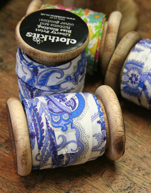 Liberty Print Bias Binding Bobbin, 15mm, Lord Paisley
