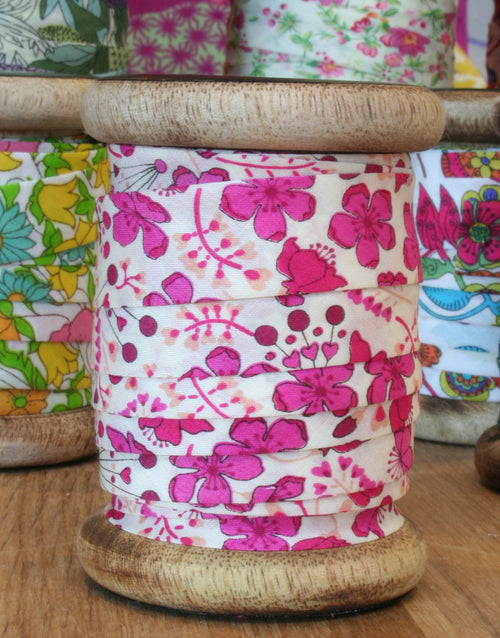 Liberty Print Bias Binding Bobbin, 15mm, Sarah's Secret Garden