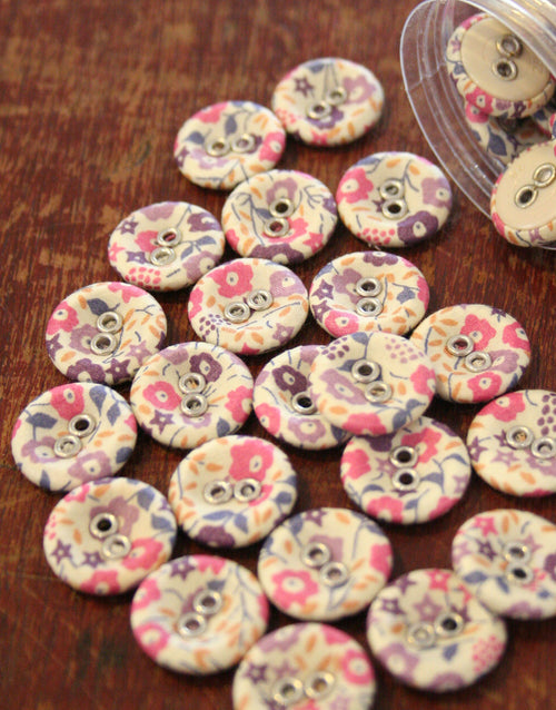 Liberty Print Laundry Buttons x 10 Medium, Fairford Muted Tones