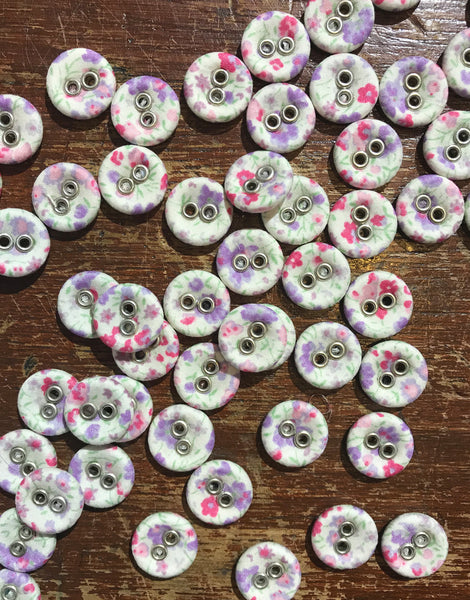 Liberty Print Laundry Buttons x 10 Small, Phoebe Lilac
