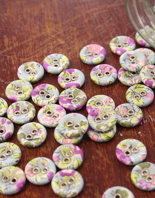 Liberty Print Laundry Buttons x 10 Small, Tatum Lilac