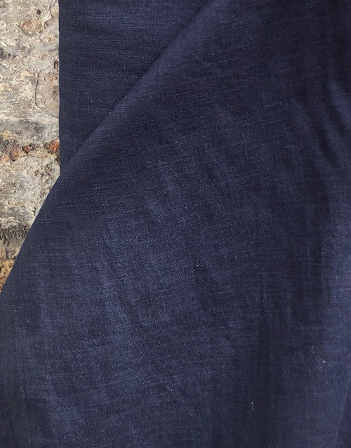 Navy Blue Linen Fabric