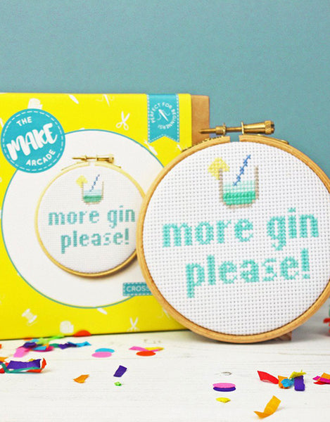 More Gin Please Cross Stitch Kit, The Make Arcade