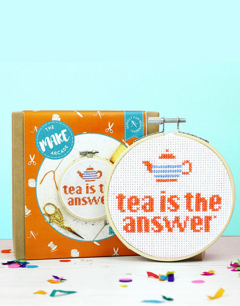 Tea is the Answer Cross Stitch Kit, The Make Arcade