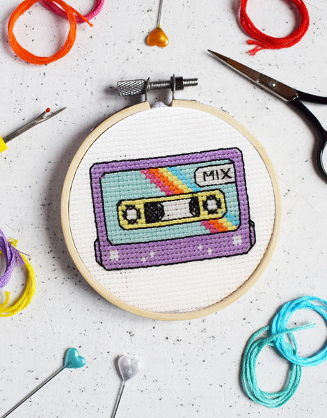 Retro Cassette Mini Cross Stitch Kit, The Make Arcade