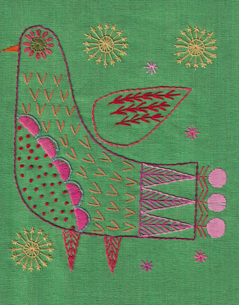 Bright Bird Iron-on Transfer Embroidery Pattern, Nancy Nicholson